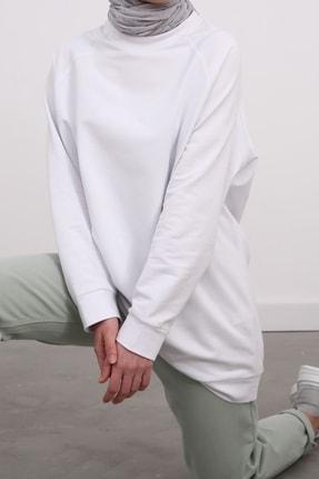 Ekrumoda Kadın Beyaz Reglan Kol Basic Sweat Tunik 0