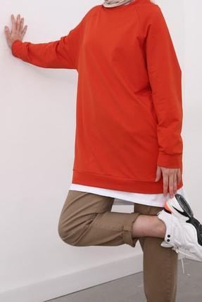 Ekrumoda Turuncu Kol Basic Sweat Tunik 1