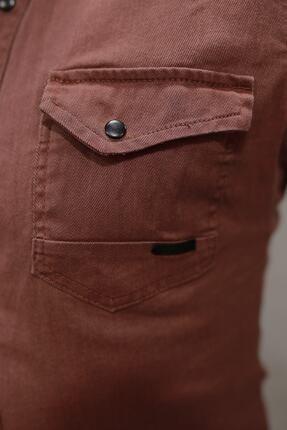 YXC erkek kiremit çift cepli çıtçıtlı kot gömlek   00059 1