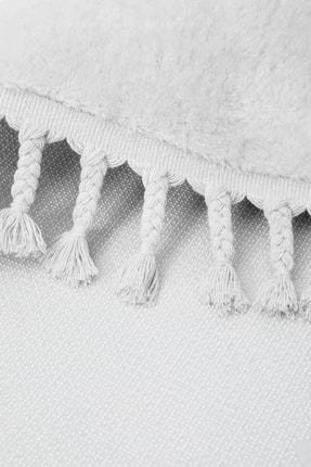Dijidekor Beyaz Oval Post Dokuma Halı Saçaklı Peluş Yumuşacık Kaymaz Antibakteriyel 3