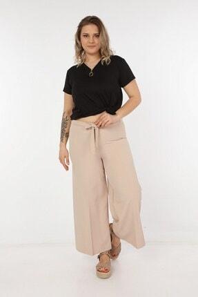 Womenice Kadın Krem Kurdelalı Bol Paça Pantolon 2