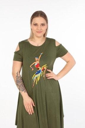 Womenice Kadın Haki Önü Baskılı Büyük Beden Elbise 1