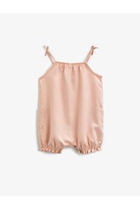 Koton Kız Bebek Pembe Askılı Fırfırlı Tulum 1