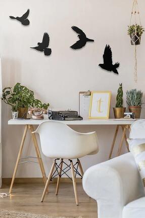 Üçgen Dekoratif Modern Dörtlü Kuş Duvar Süsü Duvar Dekoru 4 Adet 1