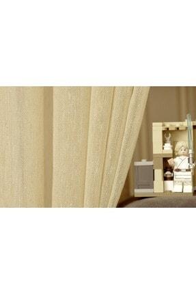Massarelli Kırçıllı Keten Koyu Buğday Rengi Pilesiz Tül Perde 100x260 2