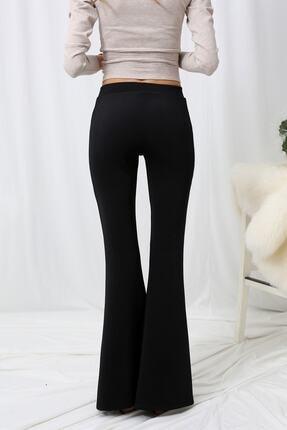 Md1 Collection Kadın Siyah Kompak Penye Bir Beden Inceltici Görünüm Sağlayan Ispanyol Paça Pantolon 2