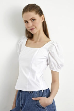 adL Kadın Beyaz  Balon Kol Poplin Bluz 1