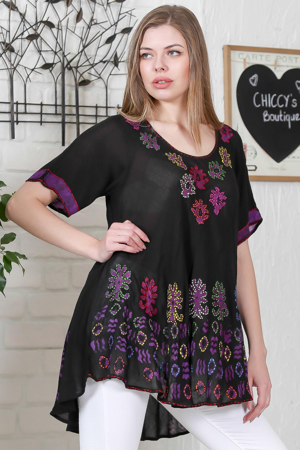 Chiccy Kadın Siyah Çiçek Baskılı Nakış Dikişli Kısa Kol Batik Salaş Dokuma Bluz M10010200BL95495 1