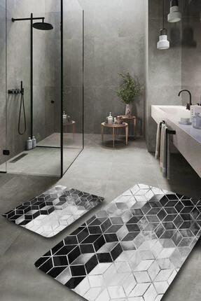EVİMOD Silver Modern Yıkanabilir 2li Banyo Halısı Paspas Klozet Takımı 0