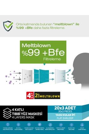 SAYTEKMED Iki Kat Meltblown Koruması / Iki Maske Gücünde / 4 Katlı Beyaz Cerrahi Maske (60 ADET/3 KUTU) 3