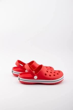 Akınalbella Çocuk Kırmızı Beyaz Şeritli Crocs Terlik 3