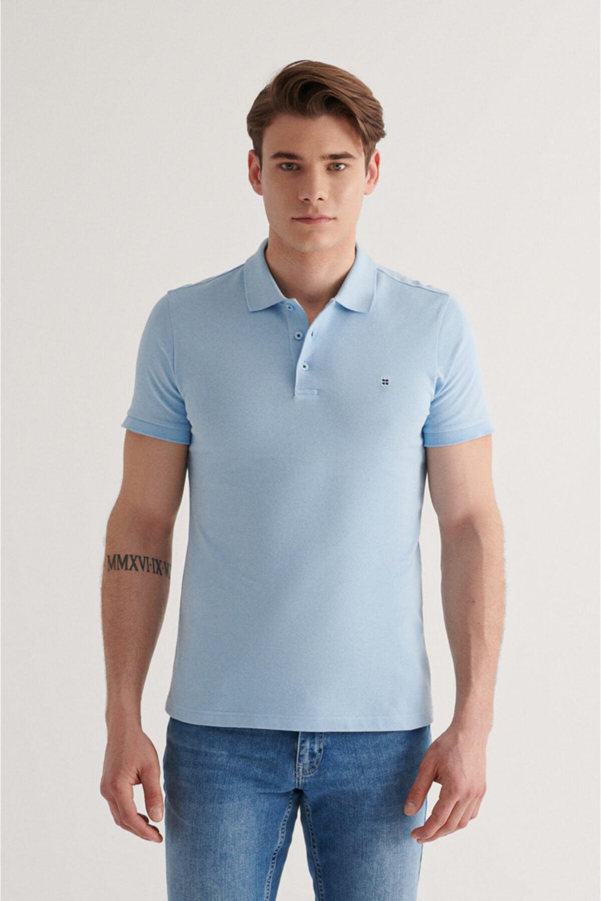 Erkek Açık Mavi Polo Yaka Düz T-shirt E001004
