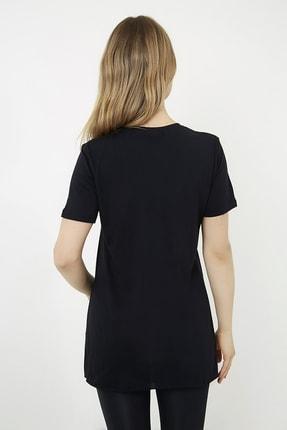 Vis a Vis Kadın Siyah Yanları Yırtmaçlı Uzun T-shirt 4