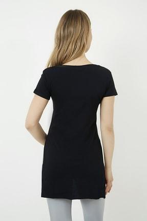 Vis a Vis Kadın Siyah V Yaka Yırtmaçlı Uzun Tshirt 3