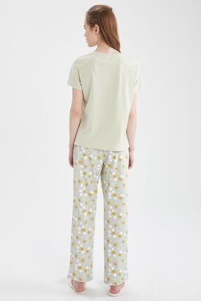 Defacto Kadın Ekru Relax Fit Baskılı Kısa Kol Pijama Takımı 2