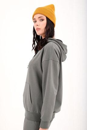 Tommy Life Çağla Kadın Kapüşonlu Kanguru Cep Oversize Lastik Paça Eşofman Takımı - 95288 2