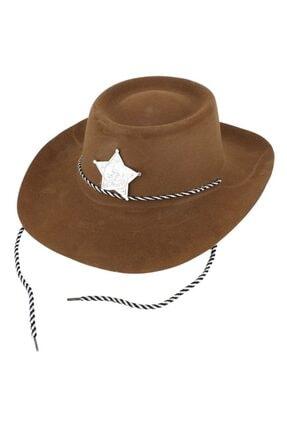Samur Kahverengi Renk Plastik Üzeri Kadife Kaplama Çocuk Kovboy Şapkası 0