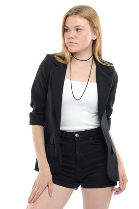 Reyon Kadın Siyah Kol İncili Blazer Ceket  18910001XXX 2