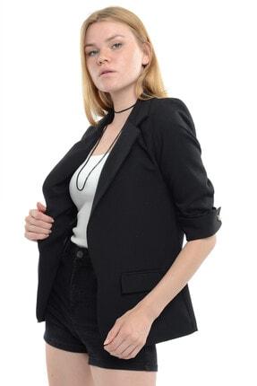 Reyon Kadın Siyah Kol İncili Blazer Ceket  18910001XXX 3