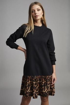 ELBİSENN Kadın Siyah Eteği Leopar Desen Spor Elbise 1