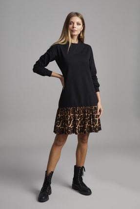ELBİSENN Kadın Siyah Eteği Leopar Desen Spor Elbise 3