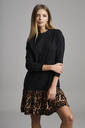 ELBİSENN Kadın Siyah Eteği Leopar Desen Spor Elbise 4