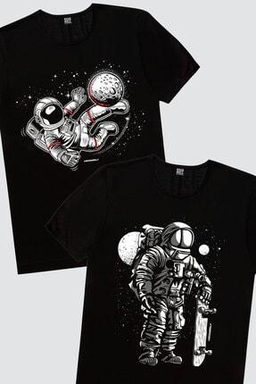 Rock & Roll Erkek Siyah Kaykaycı Astronot,  Siyah Futbolcu Astronot 2'li Eko Paket T-shirt 0