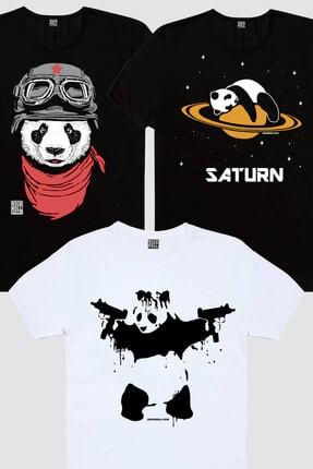 Rock & Roll Erkek Siyah Bandanalı Panda, Siyah Satürnde Panda, Beyaz Uzi Panda 3'lü Eko Paket T-shirt 0