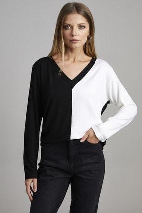 ELBİSENN Kadın Siyah V Yaka Garnili Bluz 0