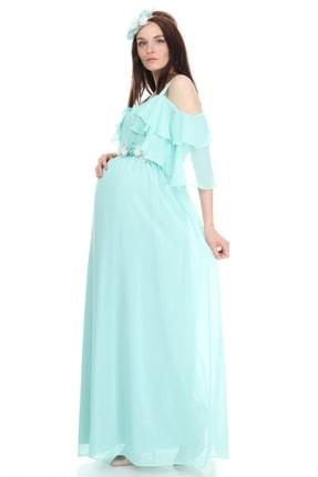 Entarim Kadın Yeşil Hamile Maxi Baby Shower Elbisesi 6021düz 2