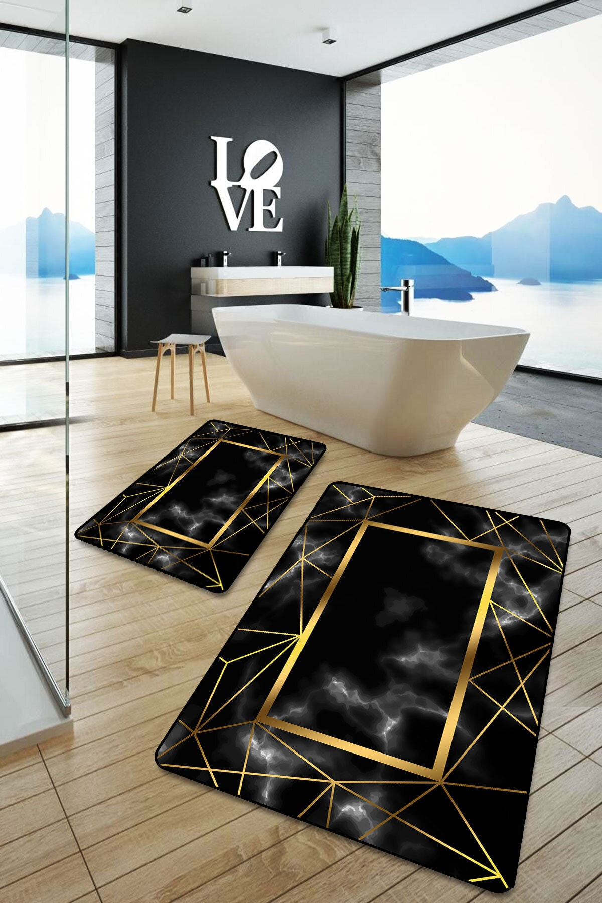 Siyah Üzeri Altın Çizgili Modern Yıkanabilir 2'li Banyo Halısı Paspas