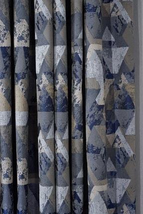 Elenor Mavi / Gri Geometrik Desenli Renkli Fon Perde Zack - Pilesiz - Büzdürmeli Ekstrafor 2
