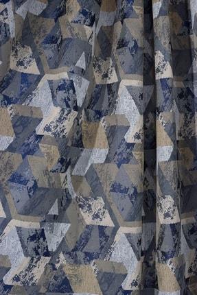 Elenor Mavi / Gri Geometrik Desenli Renkli Fon Perde Zack - Pilesiz - Büzdürmeli Ekstrafor 3