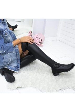 İmerShoes Kadın Siyah Dizüstü  Fermuarlı Suni Deri Streç Çizme 0