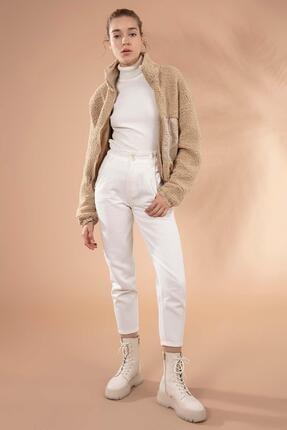 Y-London Kadın Bej Önü Fermuarlı Cepli Peluş Ceket 10420 0