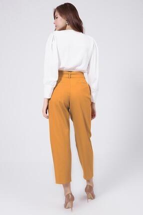 Y-London Kadın Sarı Kemer Detaylı Pileli Yüksek Bel Pantolon 39522 3