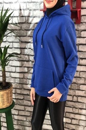 Buğraterzimoda Kadın Mavi Kapüşonlu Sweatshirt 0