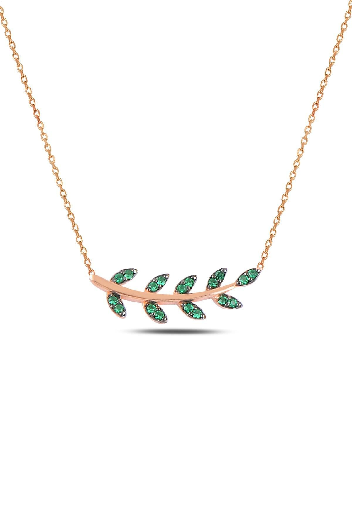 Söğütlü Silver Gümüş rose yeşil  taşlı yaprak  üçlü set 1