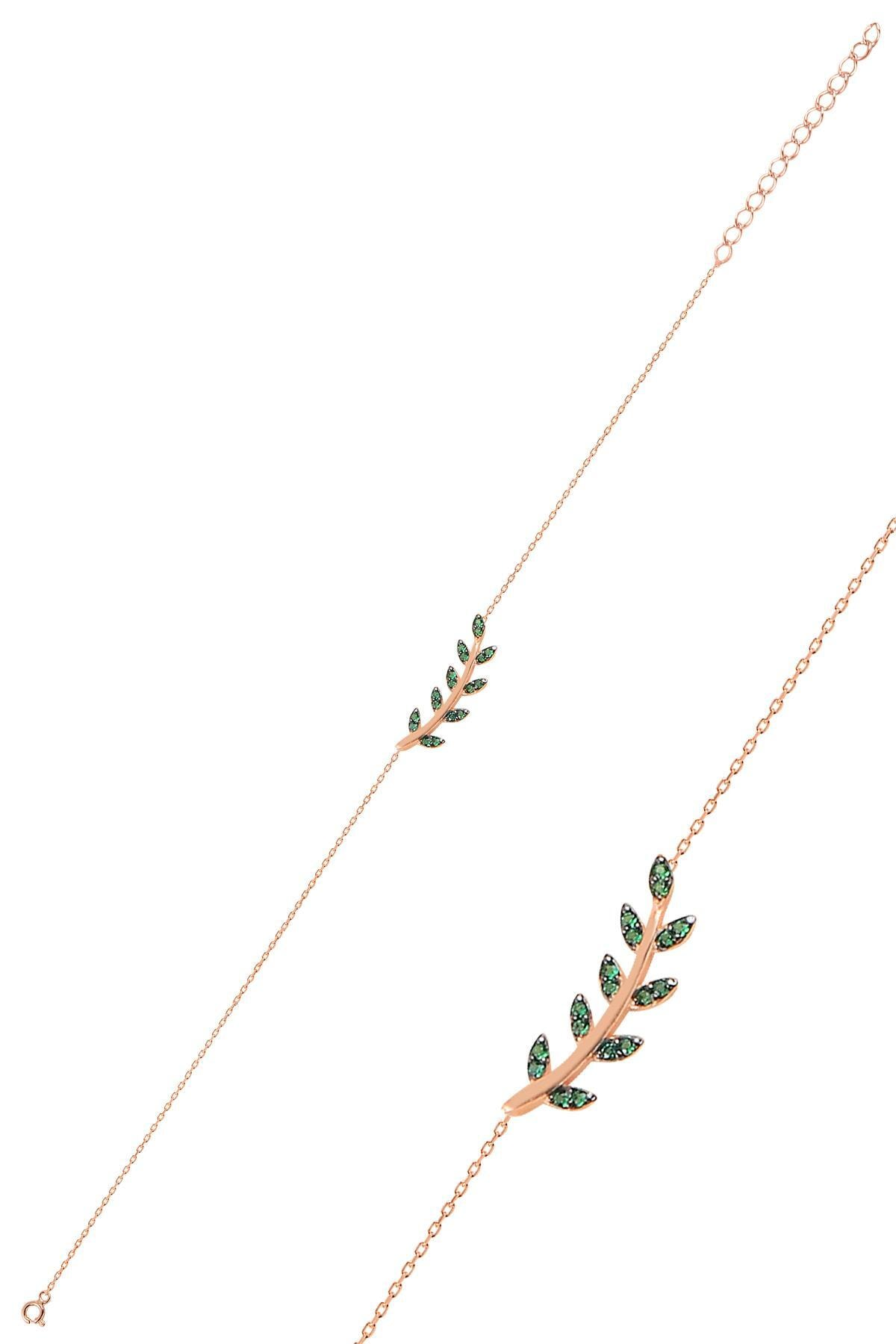 Söğütlü Silver Gümüş rose yeşil  taşlı yaprak  üçlü set 2