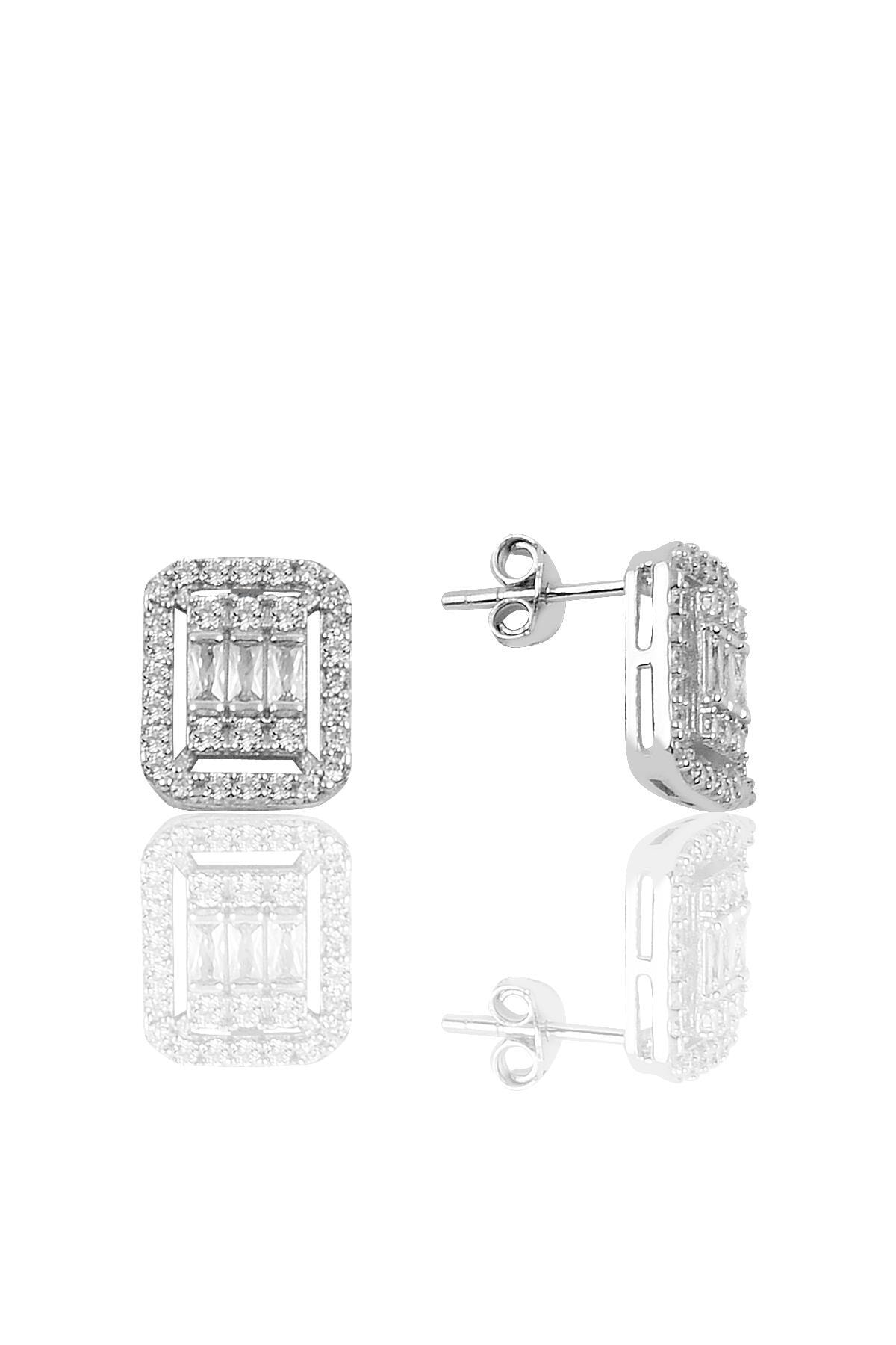 Söğütlü Silver Gümüş rodyumlu baget taşlı  kolye küpe ve bilezik  gümüş set 3
