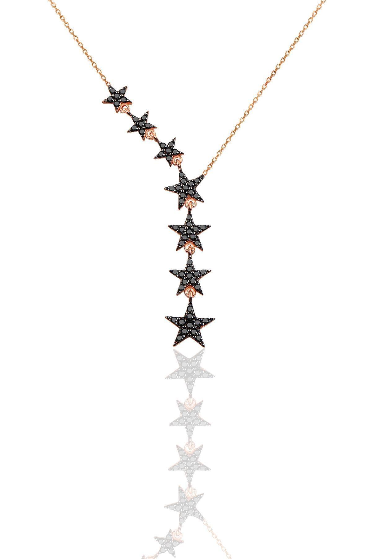 Söğütlü Silver Gümüş rose siyah taşlı kuyruklu yıldız kolye kupe ve yüzük üçlü set 1