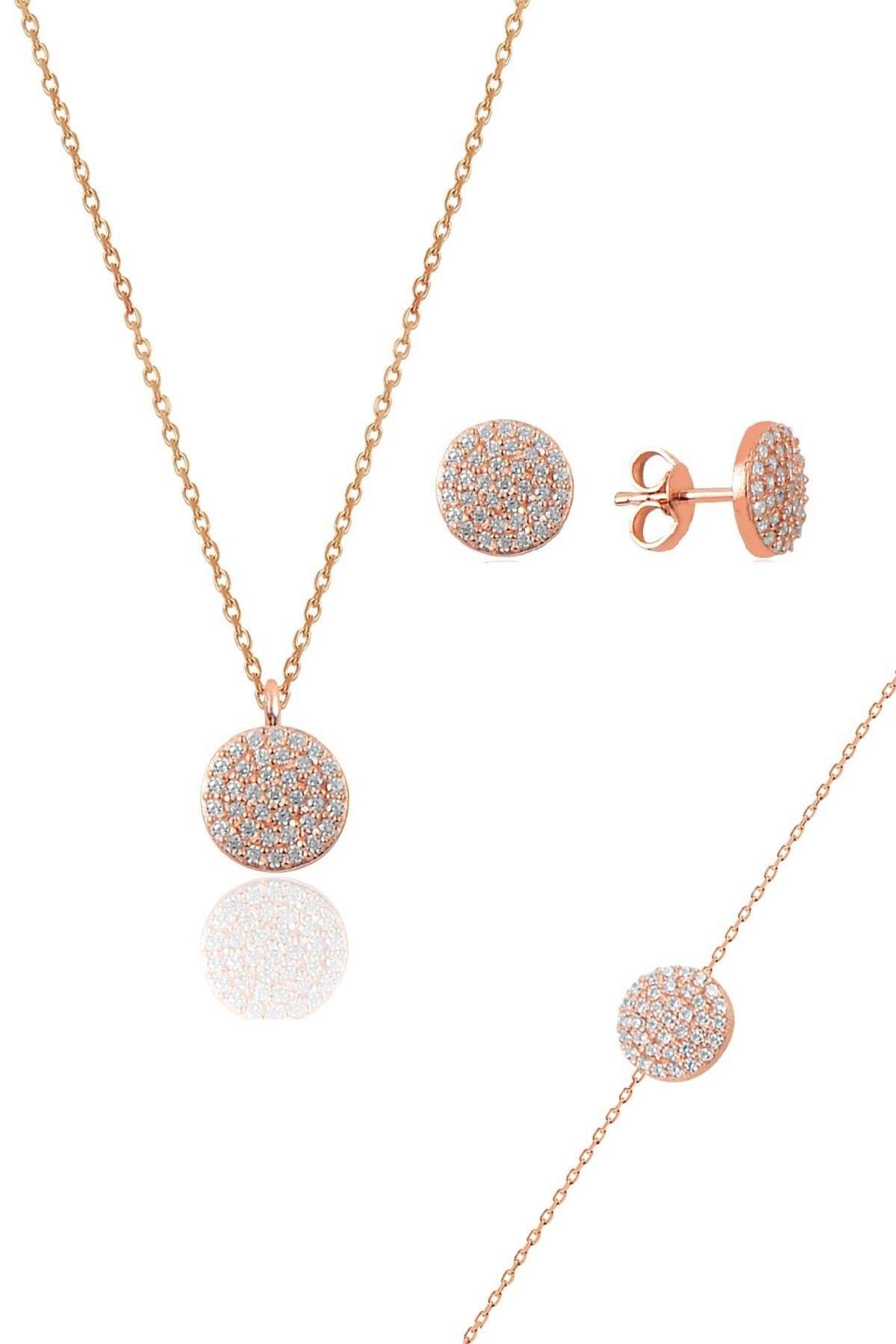 Söğütlü Silver Gümüş rose zirkon taşlı yuvarlak kolye bileklik ve küpe gümüş üçlü set 0