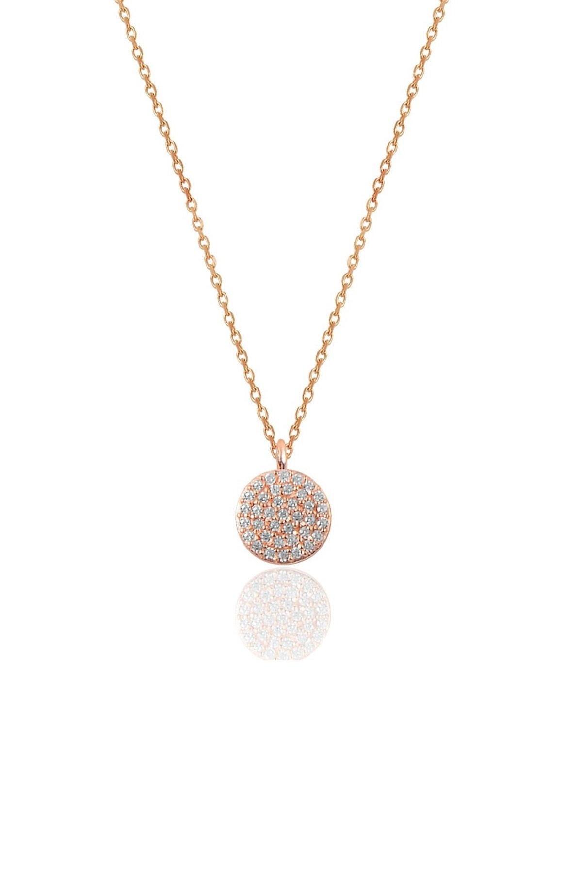 Söğütlü Silver Gümüş rose zirkon taşlı yuvarlak kolye bileklik ve küpe gümüş üçlü set 1