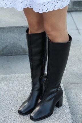 Mio Gusto Courtney Siyah Küt Burun Çizme 0