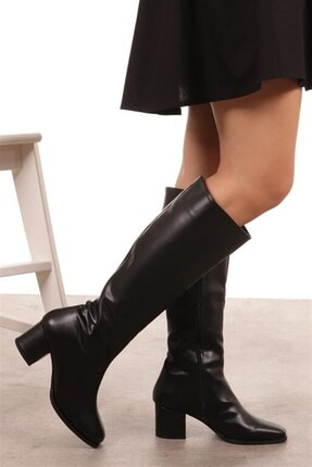 Mio Gusto Courtney Siyah Küt Burun Çizme 3
