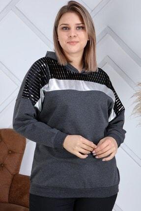 Kadın Füme Omuz Gümüş Varak Detaylı Büyük Beden Sweatshirt resmi