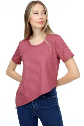 AKDEM GROUP Kadın Pembe Çapraz Crop T-Shirt 2