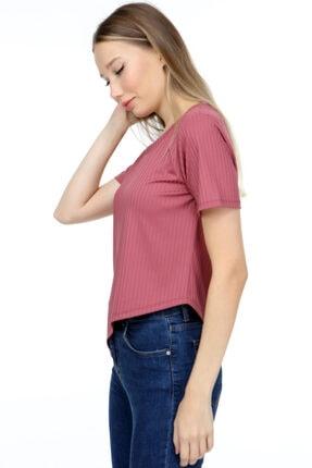 AKDEM GROUP Kadın Pembe Çapraz Crop T-Shirt 3