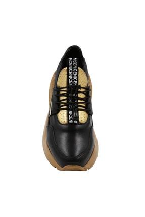 Abbondare Kadın Siyah Altın Spor Ayakkabı 2