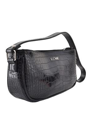 ICONE BAG Kadın Siyah Timsah Desenli Küçük Kol Çantası 0